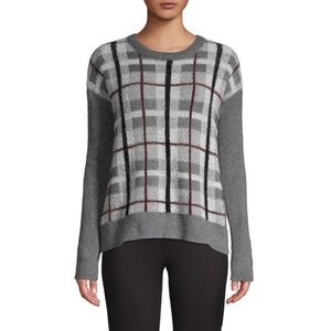 Vince Camuto Plaid Ribbed Trim Sweater Fuzzy